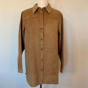 VINTAGE 80s 90s Joan Rivers tan button down tunic